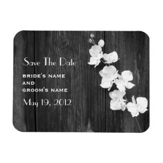 Orchids & Barnwood Save The Date Magnet