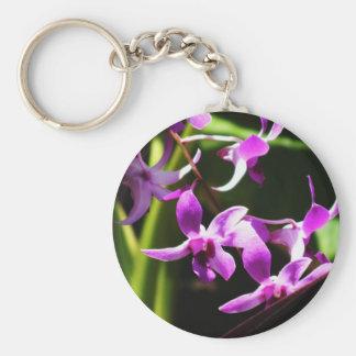 Orchids Basic Round Button Keychain
