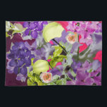 "Orchids bouquet with tennis balls kitchen towel<br><div class=""desc"">A bouquet with orchids and tennis ball in colorful background</div>"