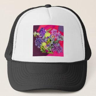 Orchids bouquet with tennis balls trucker hat