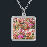 """Orchids collage silver plated necklace<br><div class=""""desc"""">Photography collage with different kinds of orchids</div>"""