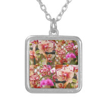 Orchids collage silver plated necklace