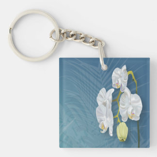 Orchids & Ferns Double-Sided Square Acrylic Keychain