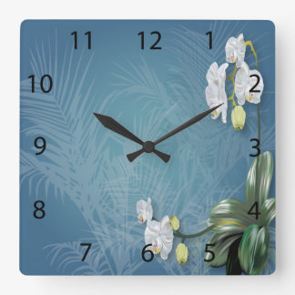 Orchids & Ferns Square Wall Clocks