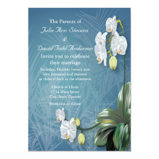 Orchids & Ferns Wedding 5x7 Paper Invitation Card