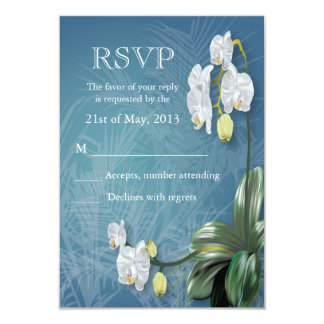 Orchids & Ferns Wedding RSVP 3.5x5 Paper Invitation Card