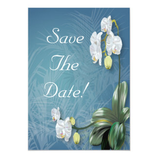 Orchids & Ferns Wedding Save The Date 5x7 Paper Invitation Card