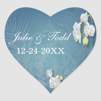 Orchids & Ferns Wedding Save The Date Heart Sticker