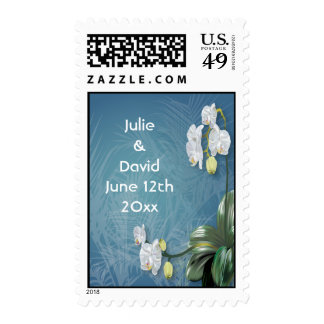 Orchids & Ferns Wedding Save The Date Postage Stamp