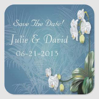 Orchids & Ferns Wedding Save The Date Square Sticker