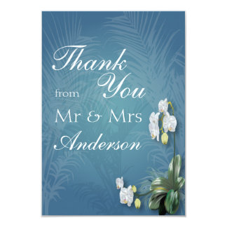 Orchids & Ferns Wedding Thank You 3.5x5 Paper Invitation Card