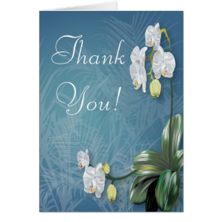 Orchids & Ferns Wedding Thank You Stationery Note Card