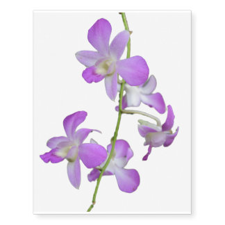 Orchids Flower Purple White Temporary Tattoos