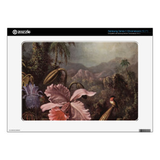 Orchids, flowers and hummingbirds by Martin Heade Samsung Chromebook Decal