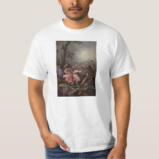 Orchids, flowers and hummingbirds by Martin Heade T-Shirt