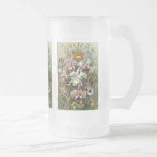 Orchids Frosted Glass Beer Mug