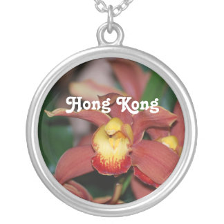 Orchids in Hong Kong Round Pendant Necklace
