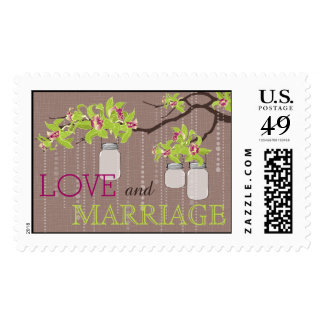 Orchids on Branch Burlap Wedding Postage
