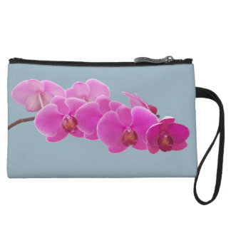 Orchids Photo to Paint on Blue II Wristlet