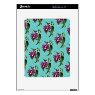 Orchids Purple Pattern Teal iPad Decal