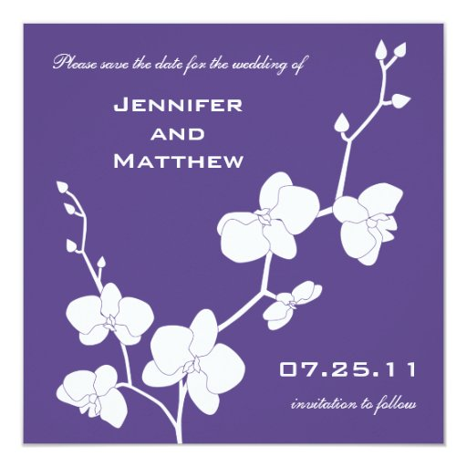 Orchids Save the Date - Deep Purple and White 5.25x5.25 Square Paper Invitation Card