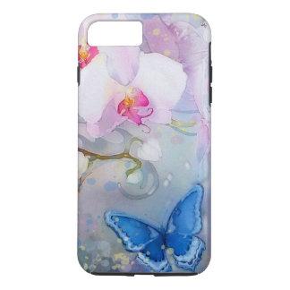 Orchids Watercolor White Lavender Blue Butterfly iPhone 7 Plus Case