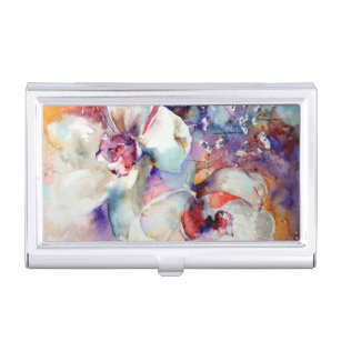 Purple and gold business card holders cases zazzle orchids watercolor white lavender blue purple gold business card case colourmoves Gallery
