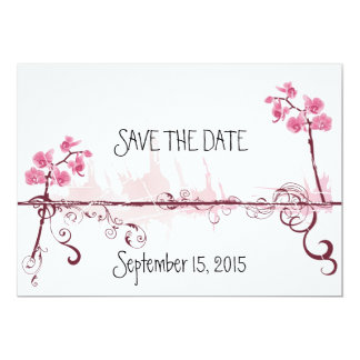 "Orchids Wedding Save the Card Date 5"" X 7"" Invitation Card"