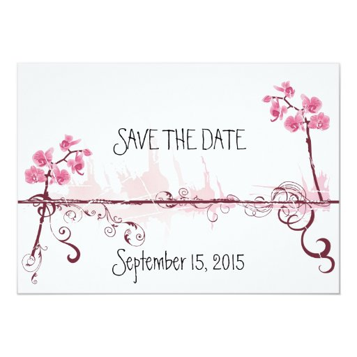 "Orchids Wedding Save the Date Card Invitación 5"" X 7"""