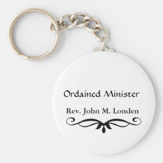 ORDAINED MINISTER GIFTS BASIC ROUND BUTTON KEYCHAIN
