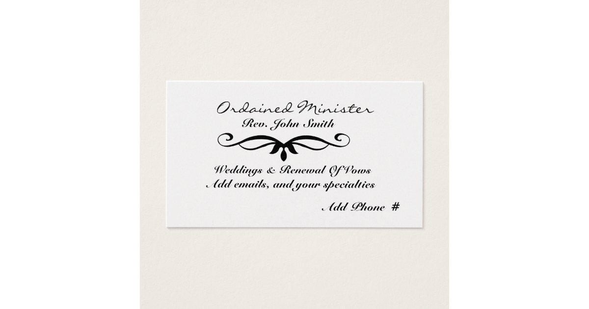 Ordained Minister 39 S Business Card