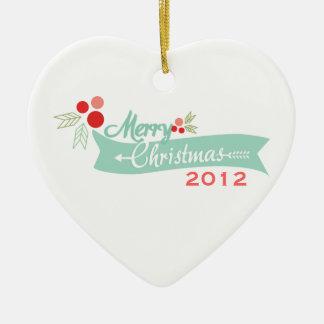 ordainment banner 2012 christmas ceramic ornament