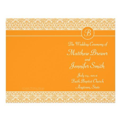 "Orden anaranjada del boda del programa del servici folleto 8.5"" x 11"""