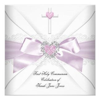 """Orden blanca del corazón del primer rosa de la invitación 5.25"""" x 5.25"""""""