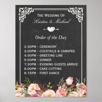 Orden de la muestra floral del boda de la pizarra póster