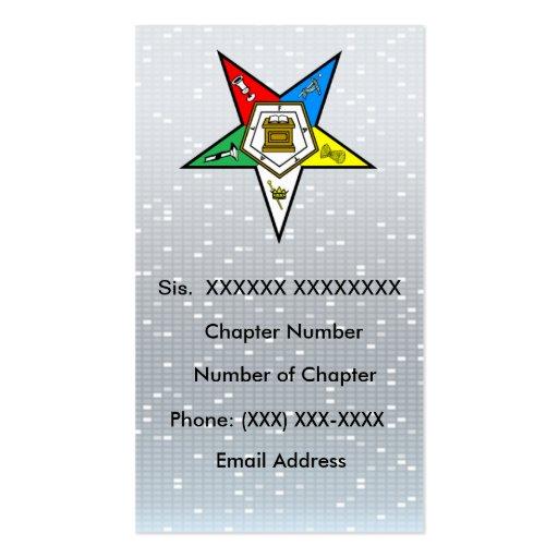 Orden de la tarjeta de visita del este de la estre