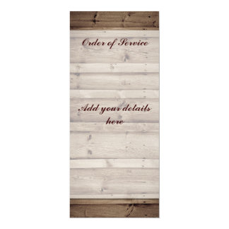 Orden de madera antigua de la tarjeta del servicio invitación 10,1 x 23,5 cm