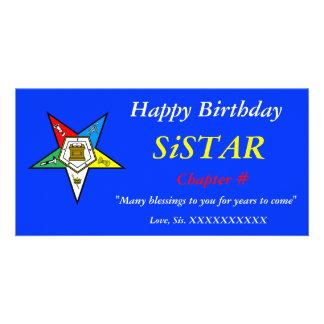 Orden de OES del feliz cumpleaños de la estrella d Tarjetas Fotograficas