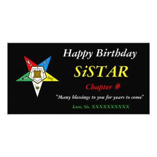 Orden de OES del feliz cumpleaños de la estrella d Tarjetas Fotográficas Personalizadas