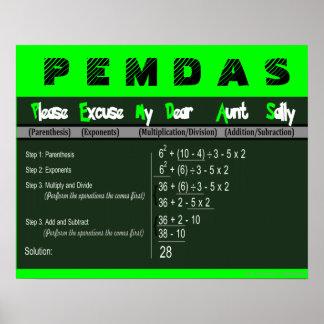 Orden de PEMDAS del poster de la matemáticas de la