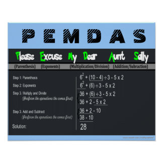 Orden de PEMDAS del poster de la matemáticas de Póster