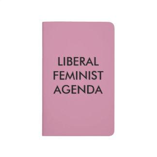 Orden del día feminista liberal cuaderno grapado
