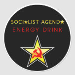 Orden del día socialista pegatina redonda