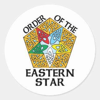 Orden del diseño céltico del nudo de la estrella d pegatinas redondas