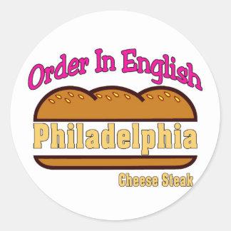 Orden del filete del queso de Philly en inglés Pegatina Redonda