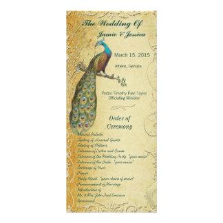 Orden del programa del boda del pájaro del vintage plantilla de lona