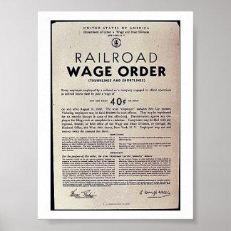 Orden del salario del ferrocarril posters