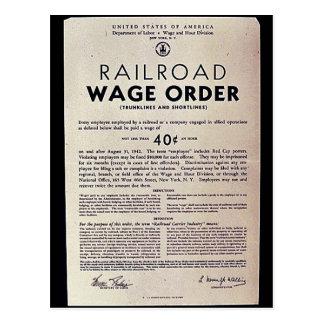 Orden del salario del ferrocarril tarjeta postal