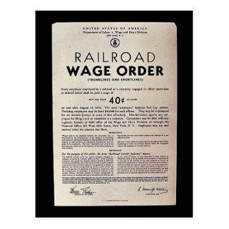 Orden del salario del ferrocarril tarjetas postales