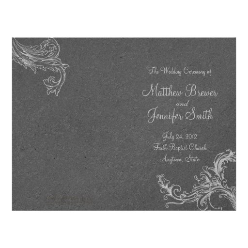 Orden gris del boda del programa del servicio y de tarjetas informativas
